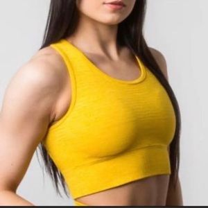 Alphalete yellow revival vault bra